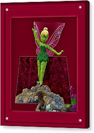 Disney Floral Tinker Bell 02 Acrylic Print by Thomas Woolworth