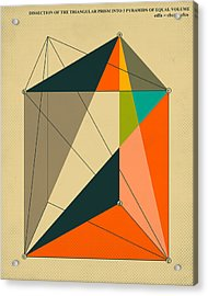 Dissection Of The Triangular Prism Into 3 Pyramids Of Equal Volume Acrylic Print
