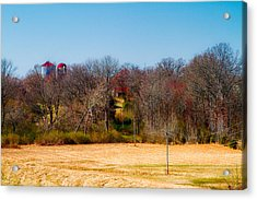 Distant Barns - Rural Art Acrylic Print by Barry Jones