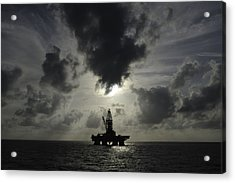Distant Offshore Oil Rig Acrylic Print