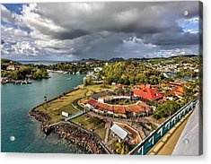 Distant Rain Near The Port In Castries St. Lucia Acrylic Print
