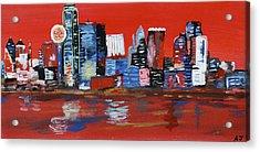 Distorted Dallas Skyline Acrylic Print by Austin James