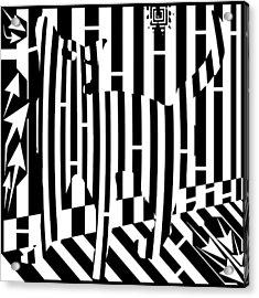 Distracted Cat Maze Acrylic Print by Yonatan Frimer Maze Artist