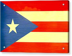 Distressed Puerto Rico Flag Acrylic Print by Dan Sproul