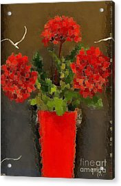 Distressed Red Flowers Pictures Acrylic Print by Marsha Heiken