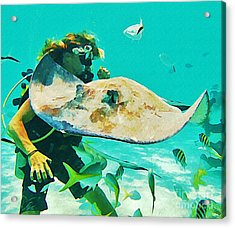 Diver And Stingray Acrylic Print by John Malone