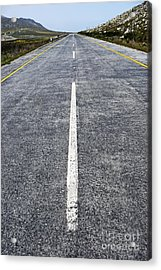 Dividing Line On A Highway Road Acrylic Print by Sami Sarkis