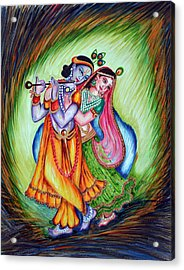 Acrylic Print featuring the painting Divine Lovers by Harsh Malik