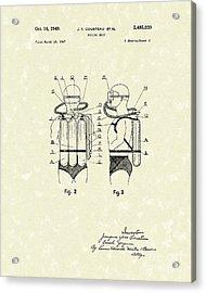 Diving Unit 1949 Patent Art  Acrylic Print