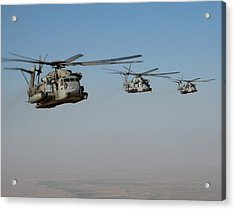 Division Of Ch-53 Flying In Afghanistan Acrylic Print by Jetson Nguyen