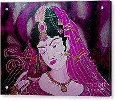 Diya Girl Acrylic Print by Priyanka Rastogi