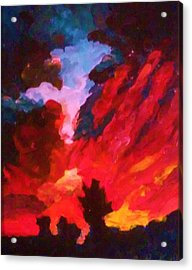 Acrylic Print featuring the painting Dk Sunset by Ray Khalife