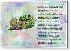 Do Not Stand At My Grave And Weep Acrylic Print by Barbara Griffin