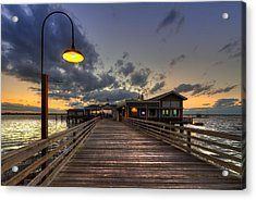 Dock Lights At Jekyll Island Acrylic Print