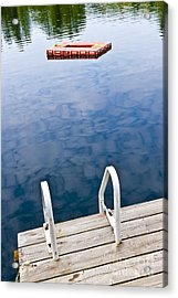 Dock On Calm Lake In Cottage Country Acrylic Print by Elena Elisseeva