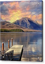 Acrylic Print featuring the photograph Dock On Lake Mcdonald by Marty Koch