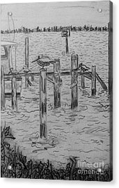 Dock Sketch Acrylic Print by Megan Dirsa-DuBois