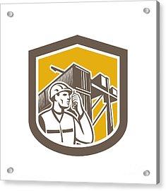 Dock Worker On Phone Container Yard Shield Acrylic Print by Aloysius Patrimonio