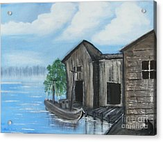 Acrylic Print featuring the painting Docked At Bayou by Mindy Bench