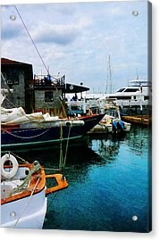 Acrylic Print featuring the photograph Docked Boats In Newport Ri by Susan Savad
