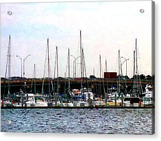 Docked Boats Norfolk Va Acrylic Print