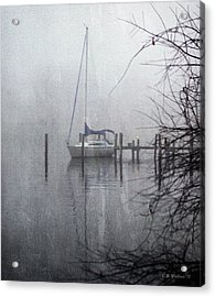 Docked In The Fog - Texture Effect Acrylic Print by Brian Wallace