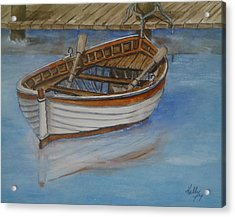 Docked Rowboat Acrylic Print by Kelly Mills