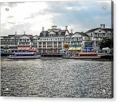Docking At The Boardwalk Walt Disney World Acrylic Print by Thomas Woolworth