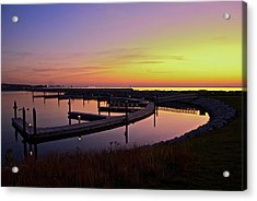 Docks At Sunrise Acrylic Print by Jonah  Anderson