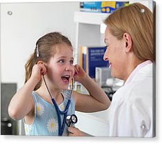 Doctor Bonding With Patient Acrylic Print by Tek Image