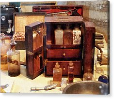 Acrylic Print featuring the photograph Doctor - Case With Medicine Bottles by Susan Savad