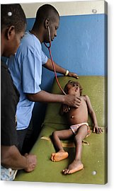 Doctor Examining A Child Acrylic Print by Matthew Oldfield