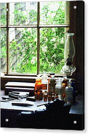 Acrylic Print featuring the photograph Doctor - Medicine And Hurricane Lamp by Susan Savad