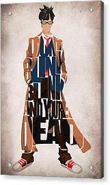 Doctor Who Inspired Tenth Doctor's Typographic Artwork Acrylic Print