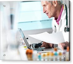 Doctor Working Acrylic Print by Tek Image