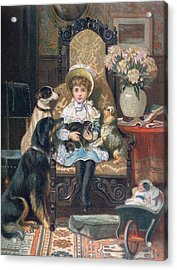 Doddy And Her Pets Acrylic Print by Charles Trevor Grand