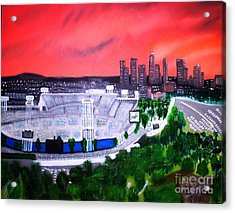 Dodger Stadium Los Angeles Skyline Painting By Israel A