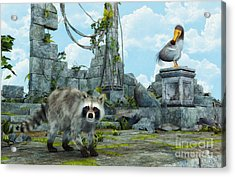 Dodo Meets Raccoon Acrylic Print by Jutta Maria Pusl