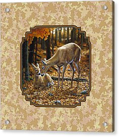 Doe And Fawn Autumn Leaves Pillow And Duvet Cover Acrylic Print by Crista Forest