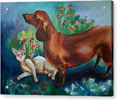 Dog And Cat In The Garden Acrylic Print
