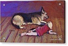 Dog And Child Acrylic Print by Joyce A Guariglia