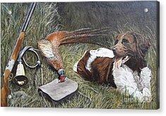Dog And Pheasant Acrylic Print by Zeljko Djokic