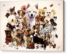 Dog And Puppies Acrylic Print by John YATO