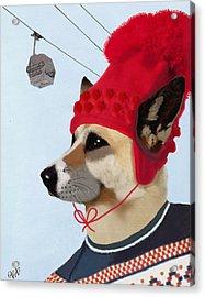 Dog In A Ski Jumper Acrylic Print by Kelly McLaughlan