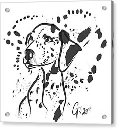 Acrylic Print featuring the painting Dog Spot by Go Van Kampen