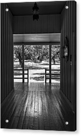 Dog Trot At Lbj Birthplace Bw Acrylic Print by Joan Carroll