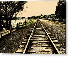 Dog Walk Along The Wayzata Train Tracks Acrylic Print by Susan Stone