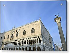 Doges Palace And Column Of San Marco Acrylic Print by Sami Sarkis