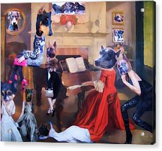 Acrylic Print featuring the painting Dogs Heads On Beautiful Women by Lisa Piper