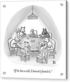 Dogs Playing Poker Refer Angrily To A Cat Who Acrylic Print